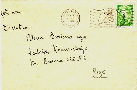Machine cancellation M-31-A on a local Riga letter - 14-15, 3 JAN, 1940
