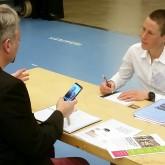 Thomas Agneteg från UF Dalarna och Hanna Bergman MTB, på Speed Business med Mika Snell