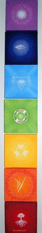 Små oljetavlor - 20x20x4 cm - som representerar de 7 chakrorna