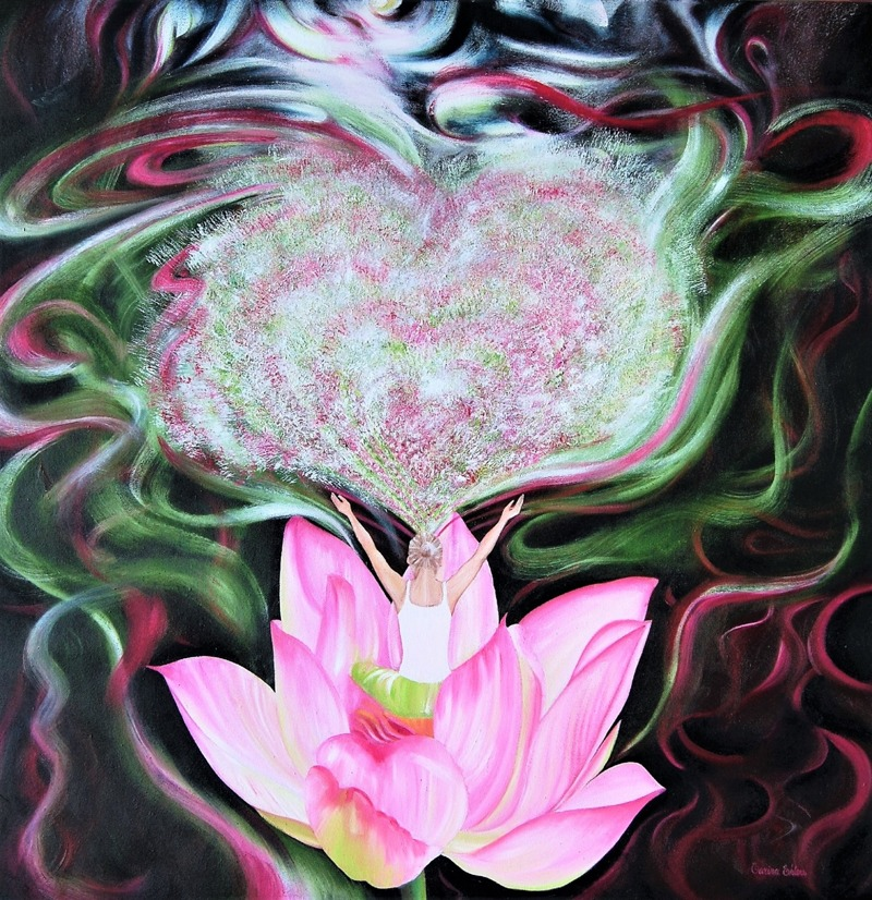 'Chakra of Heart' - Oil on canvas, 80x80 cm