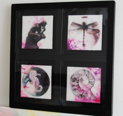 This is miniature artwork ~ Encaustic Art/ Beeswax 4 pieces a` 9 cm in a box frame with acrylic glass