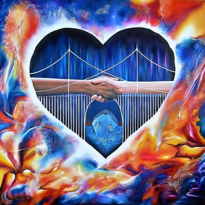 'Bridge for Hope' - 80x80 cm, oil on canvas, CarinaEhlersArt 2015 - Copyright Carina Ehlers 2015