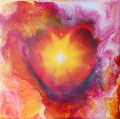 Original Encaustic Art on Bord - 'Heartfully' - 20x20 cm