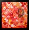 Original Encaustic Art on Bord - 'Ancient Red' - 30x30 cm