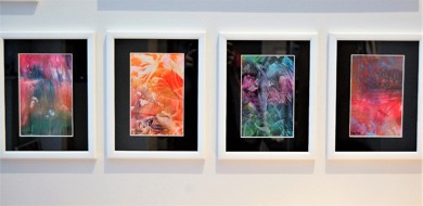 Art card framed - with white wooden frame, black passepartout and glass on top of the beeswax cards