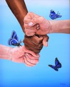 Original Oil on panel - Together for the better - 33x41 cm (Black wood frame included)