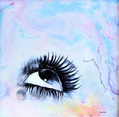 Morning Mist - 50x50 cm - Enkaustisk konst / bivax, samt oljemåleri