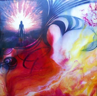 Shine your Light - 30x30 cm - Enkaustisk / bivaxmåleri på pannå