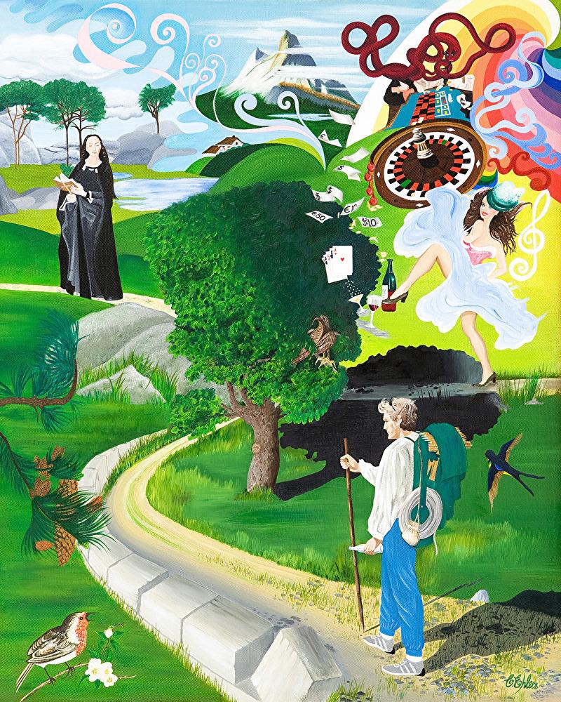 Vägval - Olja på canvas, även begränsad upplaga giclée/digigraphie, 60x75 cm