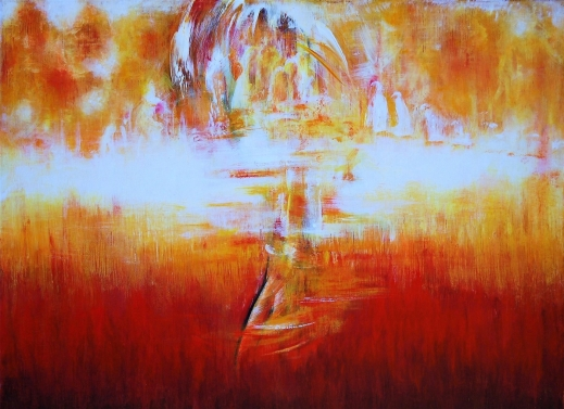 Stillsam resa - Akryl på bomullsduk, 40x30 cm