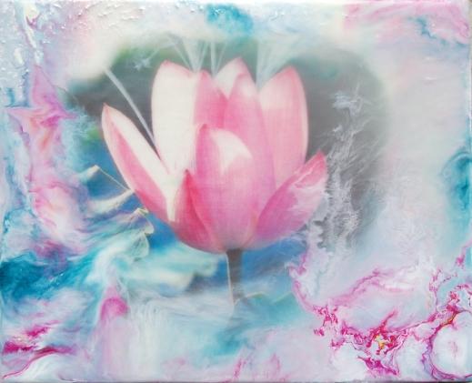 SummerFlow - 27x22 cm - Enkaustisk konst / bivaxmåleri på pannå