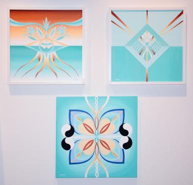 Några av mina mandalatavlor ~ Akryl på canvas