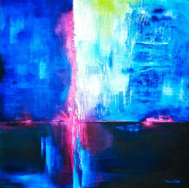 Möte i eftertanke - 54x54 cm - Akryl på canvas