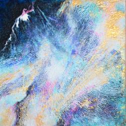Sacred Mountain - 30x30x3,8 cm - Akryl på canvas