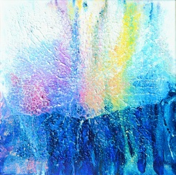 Sparkles at Waterfront -  40x40x2 cm - Akryl på canvas - moment 1: strukturpasta - moment 2: akrylgesso - moment 3 akrylfärgen