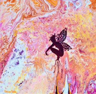 Deva in Divine Purpose - 40x40x3,6 cm - Blandteknink; Akryl och olja på 3D-canvas