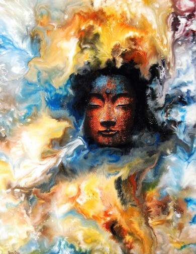 Ong Namo - 50x70 cm - Enkaustisk / Bivaxmåleri på canvas