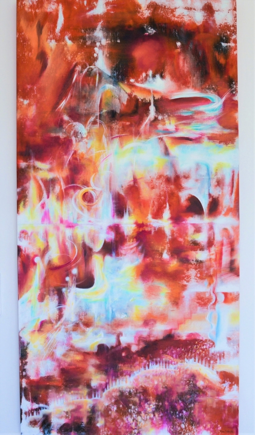 Life force out of wavelengths - Oil on canvas, 81x162 cm