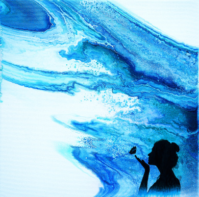 Wonderous World - 40x40 cm - Akryl och oja på canvas