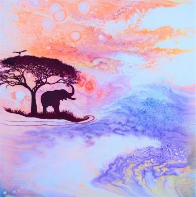 Serenity - 40x40x3,8 cm - Akryl och olja på canvas