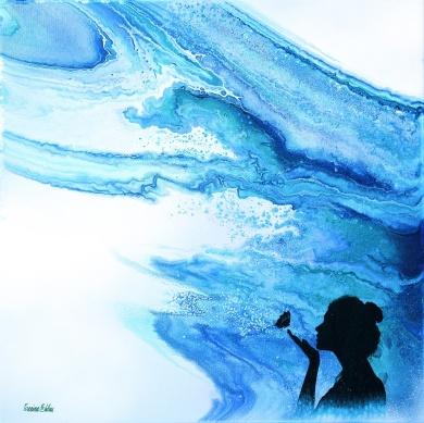 Wondrous World - 40x40 cm - Akryl och oja på canvas