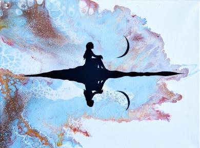 At Peace - 40x30 cm - Akryl och olja på canvas - Utöver vitt, ljusblå & mörkblå har jag också använt kopparfärg och guldfärg - som är lite svårt att tyda på fotot här.