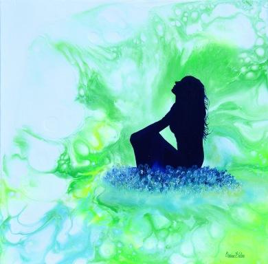 Dreamy Moment - 40x40x3,7 cm - Akryl och olja på canvas