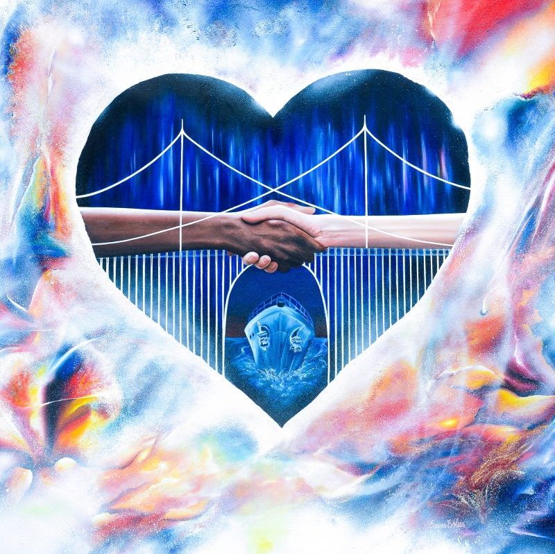 Bridge for Hope - 80x80 cm - Olja på canvas