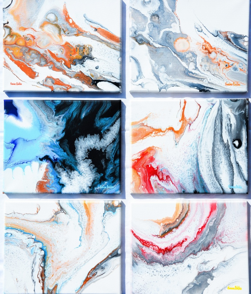 6 st akrylmålningar på canvas a`30x24 cm st