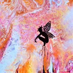 Deva in Divine Purpose - 40x40x3,7 cm - Blandteknink; Akryl och olja på 3D-canvas