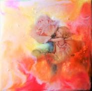 Rosenknopp - 20x20 cm - Enkaustisk / bivaxmåleri på bräda special
