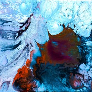 'High fluid acrylic' på pannå - 22,5x22,5 cm och 25x25 cm med ram (boxram, vitlackerad)