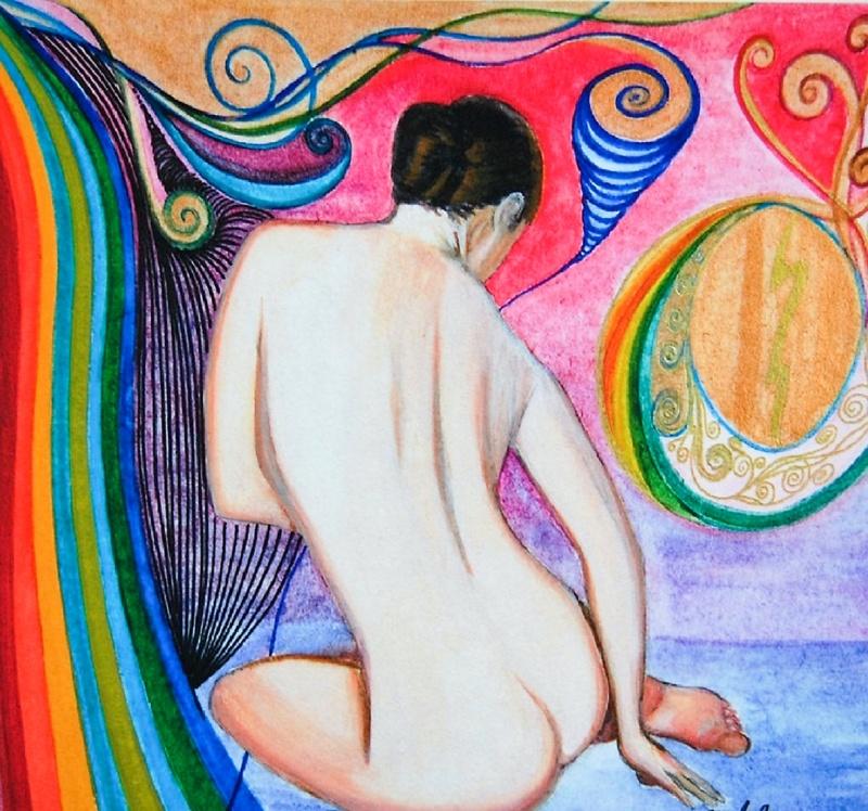 En äldre 'Drömsk posé' i tekniken akvarell och tusch - finns även som giclée/digigraphie