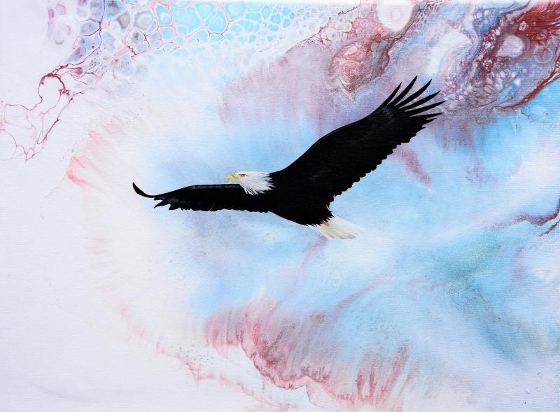 Softly in the sky - 40x30 cm - Akryl och olja på canvas. Utöver vitt, ljusblå & mörkblå har jag också använt kopparfärg och brons - som är lite svårt att tyda på fotot här.