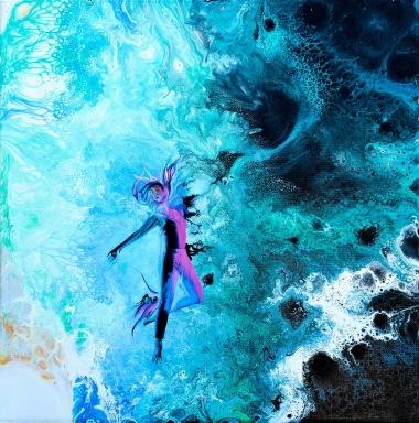 Vibrations of Energy - 30x30x2 cm - Akryl och lja på canvas