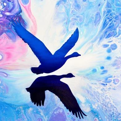 Floating in Silence - 50x50 cm - Blandteknik, akryl/olja på canvas