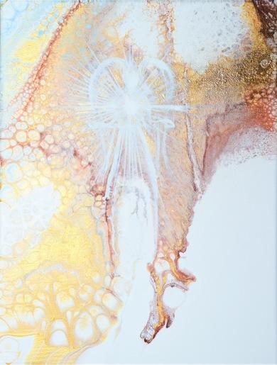 Angel of Silence - 40x30 cm - Olja och akryl på canvas - jag har använt mycket guld, brons och kopparfärg samt ljusblått och mycket vitt. Den glänsande metallic-effekten är svår att fånga i kameralinsen men är desto mer synlig i verkligheten.