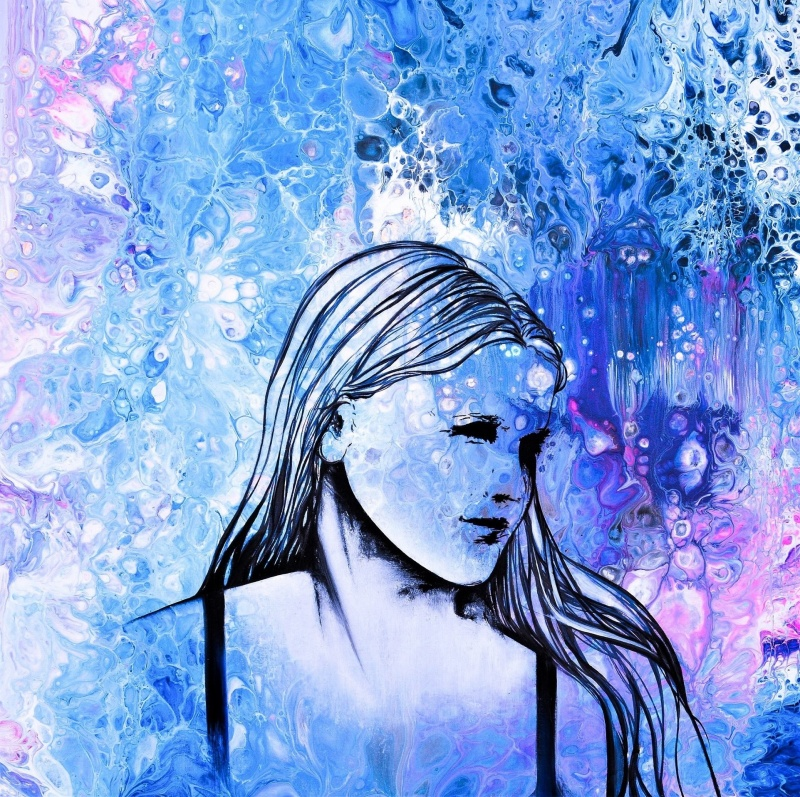 Mindful - 50x50 cm - Akryl och olja på canvas