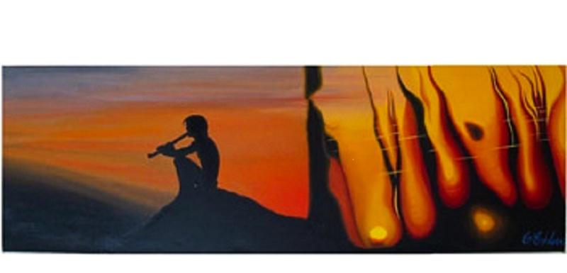 Meditativ stund -  90x30x4 cm - olja på 3d-canvas - Såld!