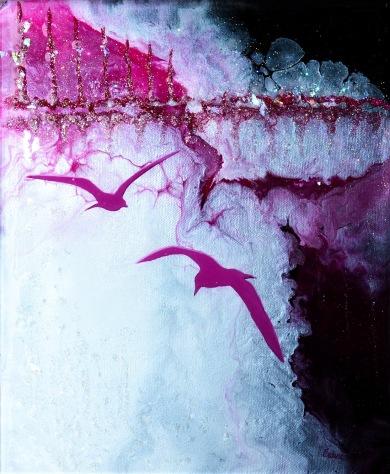 Freely - Blandteknik; Akryl, Resin, Epoxy (härdare), Stenar och glitterflarn - på canvas