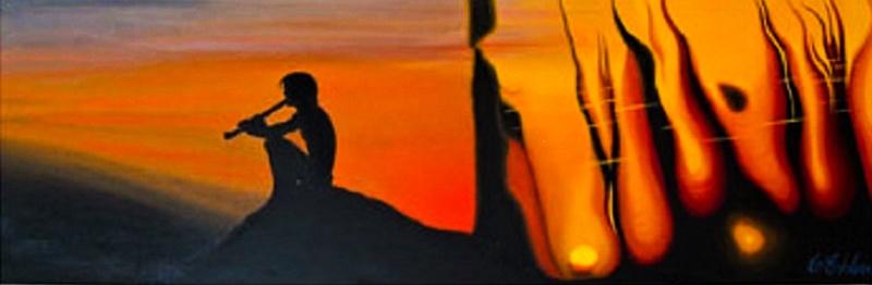 Oljemålning - Meditativ Stund - på canvas 90*30*4 cm  - Såld!