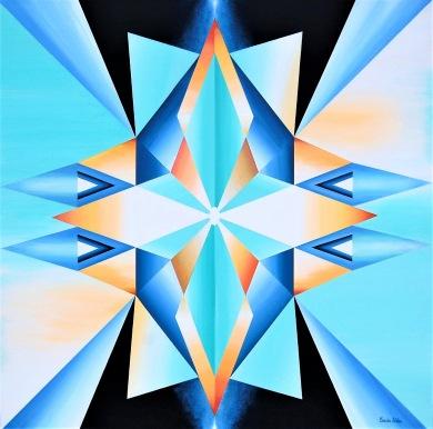 Cosmic Light - Mandala - 62x62 cm - Akryl på bomullsduk