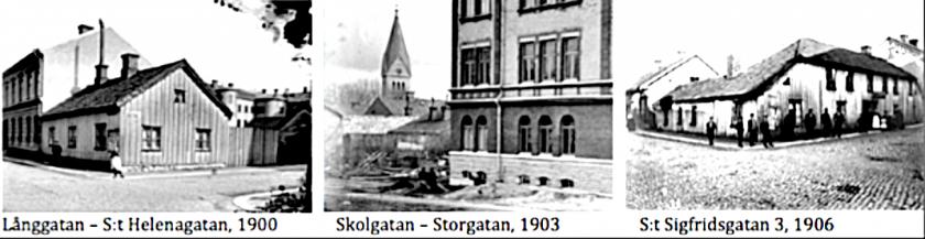Tre Skövdebilder från tiden för SAJ's etablering (Bilder Skövde Stadsmuseum- effektredigerade)