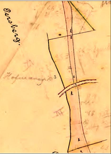 Varnhemsvägen från 1870 korsas. (lantmäteriet Historiska kartor)