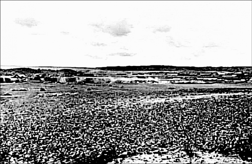 Harkesgärdet, Harket eller Carlsro-platån 1907 innan en större industrialisering, även om kalkbrotten redan var i industriell drift. (Skövde Stadsmuseum)