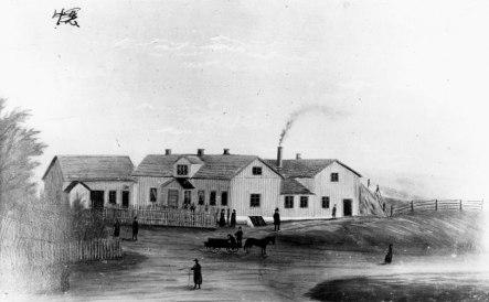 Bild 32. Makarna Erikssons byggnadskomplex 1880; bostäder, kakelfabrik, vaddfabrik & predikolokal; Skövde Stadsmuseum - bildnr 103881