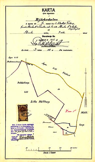 Friköpskarta Björkedalen 1918. Lantmäteriet Historiska Kartor