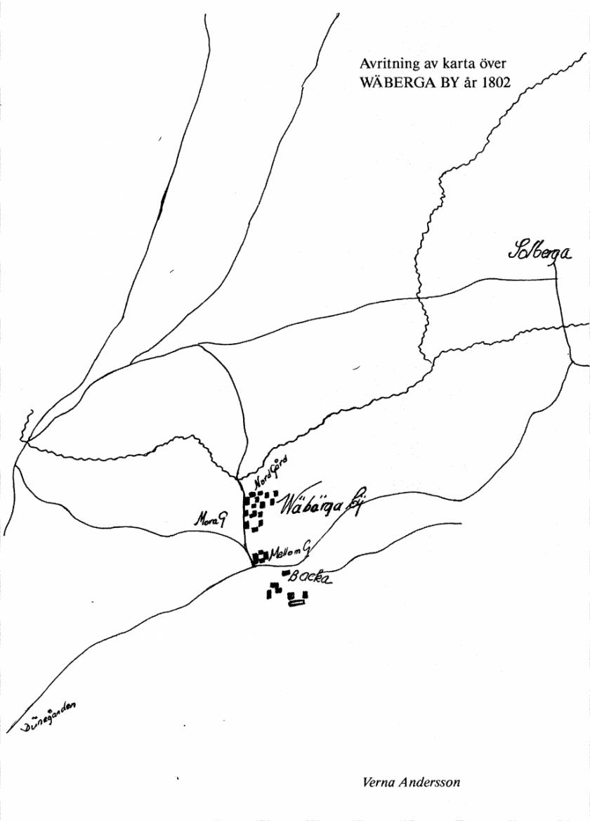 Kartan hämtad ur Billingen längesen 1, artikel av Verna Andersson, Väberga by - en försvunnen by i Varnhems socken.