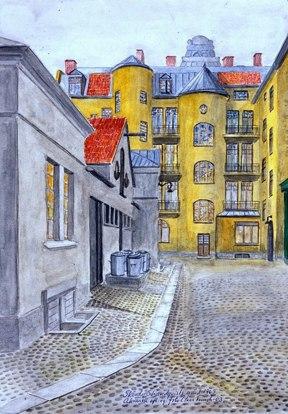 Skövde. Strandqvists gård 1963 - akvarell av Claes Funck