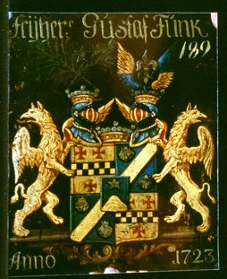 Funck. Tysk släkt från Stralsund. Adlad 1672. Friherrlig 1723. Introducerad på Sveriges Riddarhus år 1723, som friherrlig släkt med vapen nr: 189. Foto Riddarhuset Claes Funck, copyright